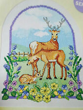 Stickvorlage,Cross Stitch,Kreuzstich,Point de Croix,Reh-Familie ,Frühlingswiese