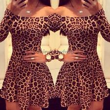 Sexy Women Casual Long Sleeve Leapord Evening Cocktail Party Mini Dress XL #V