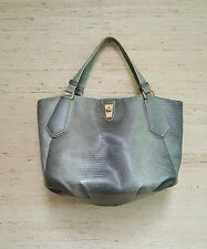 Marc BY Marc Jacobs Gray Lizard Embossed PVC Leather Tote Hobo Purse
