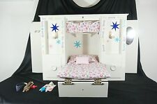 AMERICAN GIRL 3 in 1 Murphy Bed  Lighted White Wood doll Wardrobe & Accessories