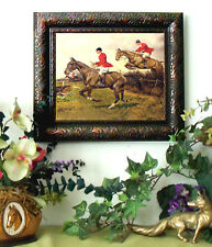 Over the Hedge Wright Fox Hunt Horse Print Antique Vintage Styl Framed fh