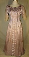 EDWARDIAN CHIFFON GOWN WITH SEQUINNED TRIM, DUCHESSE LACE