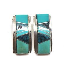 Navajo Handmade Turquoise Inlay Sterling Silver Post Earrings