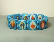 Christian Bracelets Wood Beads Saints Holy Images VARIOUS COLORS Great for KIDS!