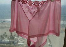 Vintage Glamour Laumiere Pink Flower Sheer Nylon/Spandex boyshort undies sz 2X