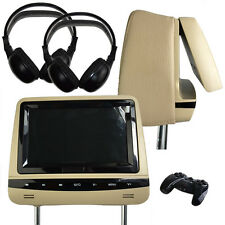 2 x Universal Beige Leather DVD/USB/SD Headrests Screen/Monitor Mercedes B-Class
