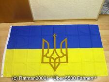 Fahnen Flagge Ukraine mit Wappen Sonderposten - 90 x 150 cm