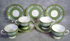 4 MINT Vintage WEDGWOOD Bone China ASIA Pattern GREEN Cup & Saucer Sets R4310