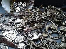 100g Antique Gold Silver Bronze Copper Charm Mix Steampunk Vintage Pendants