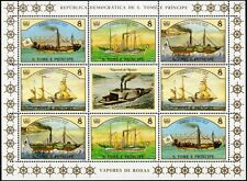 1984 St Thomas & Prince STEAM SHIP Stamp Sheet (Hansa/Elise/De Zeeuw/Fr.Wilhelm)