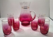 Stunning Cranberry Pitcher and 6 Tumblers - Glasses Set Unmarked Fenton? Vintage