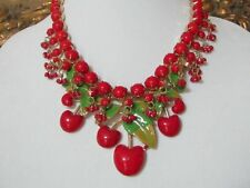 Fabulous & Fun Vintage STYLE RED Cherries CHERRY Enamel Dangle NECKLACE Fruit