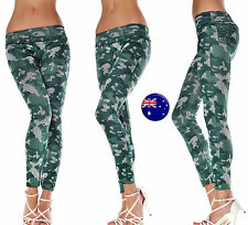 Women Army Military Camouflage Green Camo Skinny Leggings Pants Trousers Jegging