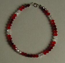 Sparkly STERLING SILVER 925 BRACELET Red CRYSTAL SWAROVSKI Elements