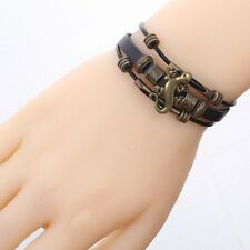 Bronze Lizard Design Black PU Leather Bangle Unisex Bracelet Gift Prom