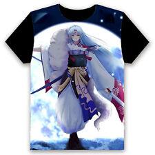 Anime InuYasha Sesshoumaru Cosplay Unisex Black Short Sleeve T-Shirt Tops #E-55