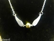 USA Harry Potter Golden Snitch Angel Wings NECKLACE silver and gold tone USA