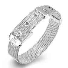 Wholesale 925Sterling Solid Silver Jewelry 10mm Watchband Bracelet Women Men