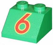 Missing Lego Brick 3039px48 Green Slope Brick 45 2 x 2 with Red Number 6 in Yell