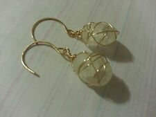 14k gf Gold or Sterling Silver Wire Wrapped White Cracked Style Crystal Rock