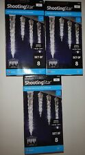 Lot of 3 boxes Gemmy 8 LED LightShow Shooting Star White Icicle Lights wedding *