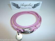 """Alraune, pulsera de piel """"Amapolas"""", rosa, 38 cm, Sujetador del acero inoxidable"""