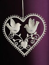 Vintage Metal Cream Hanging Heart Bird Decoration Shabby Chic Home Garden Gift