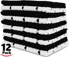 Kitchen Restaurant Hotel Dish Cloth Tea Towels 12 Pack Black and White New