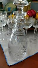 Large Crystal Wine Decanter, Etched Design, W/ Stopper, Flowers, Crystal Cut