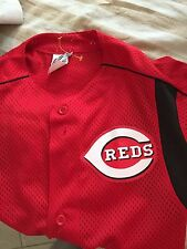 cincinnati reds majestic  button down  jersey youth Large