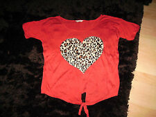 LOVELY coral red orange with beige brown black heart womens tshirt top 8 10 12