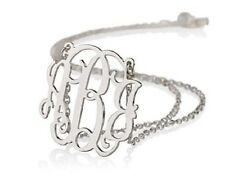 Monogram Necklace Sterling Silver Personalized Name Necklace