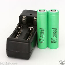 Auction 2PCS New Samsung INR18650-25R battery 2500mah For e-cigarette + Charger