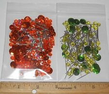 VINTAGE SEQUINS & PINS ORANGE GREEN ~ JEWELRY FINDINGS CRAFTS LOT #4225