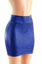 MEDIUM Blue Shattered Glass Bodycon Spandex Stretch Mini Skirt Ready to Ship!