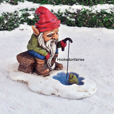 Miniature Fairy Garden  Ice Fishing Gnome #17358 /Dwarf Figurine Faerie