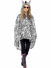 Ladies Girls Zebra Animal Poncho Waterproof Jacket Outdoor Fancy Dress Fun