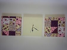 3 LILAC PURPLE PINK CREAM PATCHWORK QUILT VINTAGE FLORAL WALL HANGINGS CLOCK