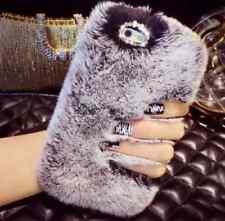 grey Luxury Faux Rabbit Fur Bling Crystal Rhinestone Case cover For Iphone 6 6s
