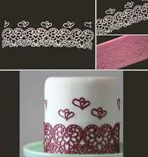 Lace Heart Silicone Mold Sugar Craft Fondant Cake Decorating Baking Tool Pad (C)