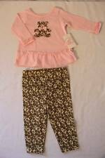NEW Baby Girls 2 Pc Set 3 - 6 Mo Pink Bear Bow Shirt Leopard Pants LS Top Outfit