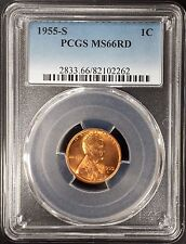 1955 S Lincoln Cent certified Ms 66 Rd by Pcgs!