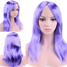 "19"" Part Costume Wig Curly Full Bang Wig Halloween Anime Cosplay Blue Purple th"