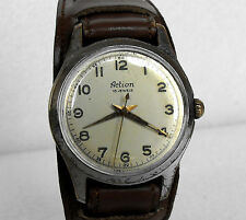 VINTAGE MECHANICAL MEN'S WRIST WATCH * ACTION * cal. HP 90 with 18 Jewels France