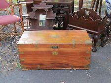 Antique English Asian Oriental Campaign Camphor Wood Chest Trunk