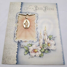 Vintage Christmas Greeting Card 1946 Religious Rosary Mary Gift Dear Friend Lady