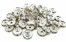 50 x 10mm Silver Grade A Brass Rhinestone Rondelle Spacer Beads