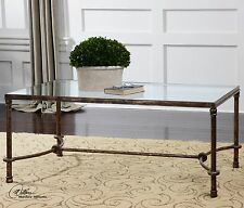 "LARGE 48"" FORGED RUSTIC BRONZE PATINA IRON BASE GLASS TOP COCKTAIL COFFEE TABLE"
