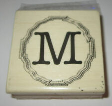 """M Rubber Stamp Initial Name 2.5"""" Square Wood Mounted"""