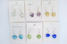 FREE wholesale lot 12Pairs Heart murano glass bead Silver Plated earrings